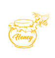 yellow outline sketch of honey bee vector image