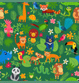 zoo jungle pattern seamless tropical vector image