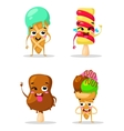 Collection sweets emotion lovely ice cream doodle vector image