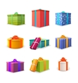 Set of different colourful bright gift boxes with vector image