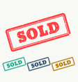 sold rubber stamp in grungy style vector image