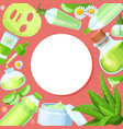 aloe vera round pattern banner with cream natural vector image vector image