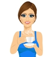 attractive young woman drinking coffee vector image