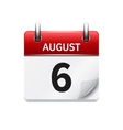 August 6 flat daily calendar icon Date vector image vector image
