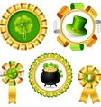 Award ribbons with Saint Patricks day objects vector image