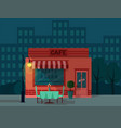 background with night city and closed cafe vector image