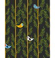 Birds on trees seamless pattern background of vector image vector image