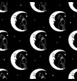 cat sitting on moon night sky seamless pattern vector image vector image
