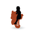 child silhouette on horse toy vector image