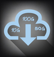 cloud with download arrow icon on grunge vector image vector image