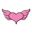 color heart with wings symbol love art vector image vector image