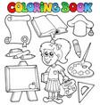 coloring book school topic 2 vector image vector image