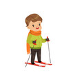 cute boy skiing winter sport and outdoor activity vector image vector image