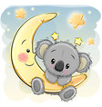 cute koala on the moon vector image vector image