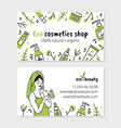 eco cosmetics woman applies cream in doodle style vector image vector image