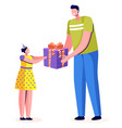 father giving gift box to daughter festive vector image vector image