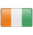 Flags Cote dlvoire in the form of a magnet on vector image vector image
