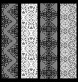 four seamless patterns with black and white lace vector image vector image