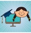 girl student laptop idea graduation vector image