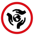 Global Care Flat Rounded Icon vector image
