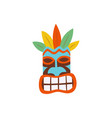 hawaiian tiki mask colorful icon flat cartoon vector image vector image