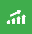 icon concept of house graph moving up on green vector image