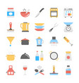 kitchen utensils flat icons pack vector image
