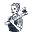 lumberjack woman with axe female axeman for logo