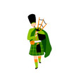 male bagpiper in green irish costume playing vector image vector image