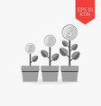 Money trees icon Financial growth concept Flat vector image vector image