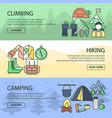 mountaineering horizontal linear banners set vector image