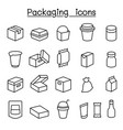package icon set in thin line style vector image vector image