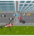 Police Chase Top View vector image vector image