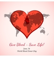 Red Heart with Blood Drop over World Map vector image vector image