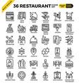 Restaurant food business pixel perfect outline vector image
