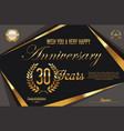 retro vintage anniversary background 30 years vector image vector image