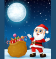 santa claus presenting sack full of gifts in the w vector image vector image