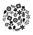 set of spring theme nature flowers love birds vector image vector image