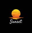 simple minimalist sunrise sunset moon ocean lake vector image vector image