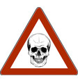 skull danger sign in white background vector image vector image