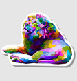 sticker colorful lion lying down facing up vector image vector image