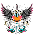 swallow heart emblem vector image vector image