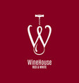 wine house logo letter w red and white wine vector image vector image