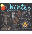 Winter season set doodles elements Hand drawn set vector image vector image