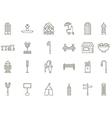 City elements black icons set vector image