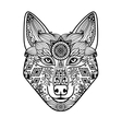 Wolf head with hand drawn ornament vector image