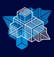 3d abstract isometric construction polygonal vector image vector image