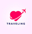airplane symbol travel with love travel logo vector image