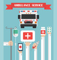 ambulance service flat background with hand vector image