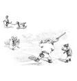 baseball in jungleville 1 vintage vector image vector image